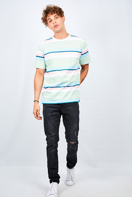 Mens Mint Multi Stripe Crew Neck T-Shirt