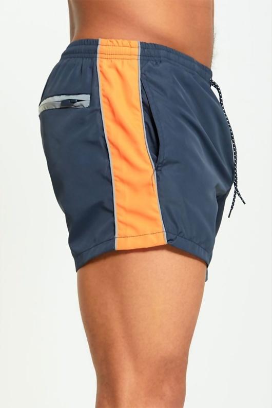 Mens Orange Panel Swim Shorts