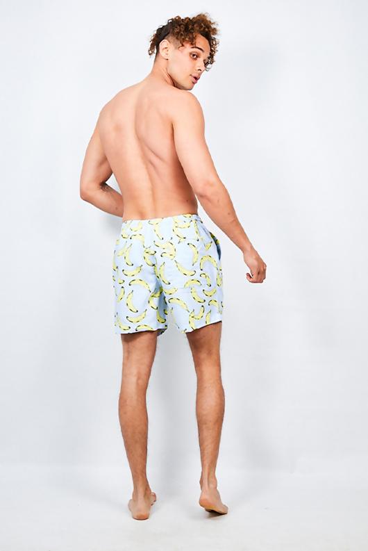 Mens Pastel Blue Banana Print Swim Shorts