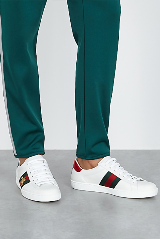 Mens White Bee Embellished Striped Trainers