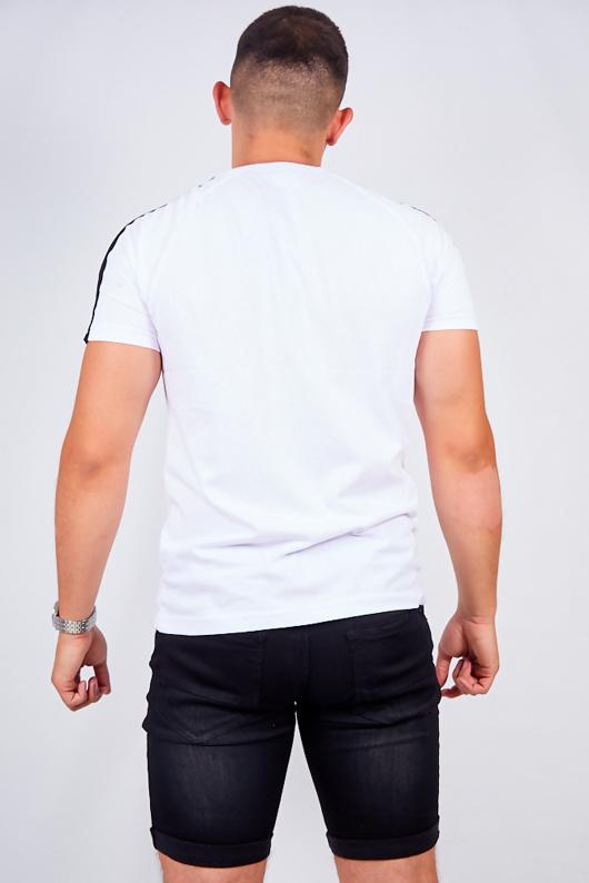 Mens White Monochrome Stripe Detail T-Shirt