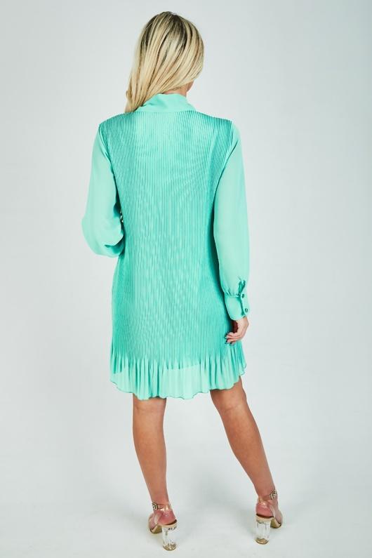Mint Pleated Bow Shift Dress