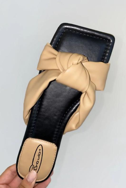 Mocha PU Knot Front Slider Sandals