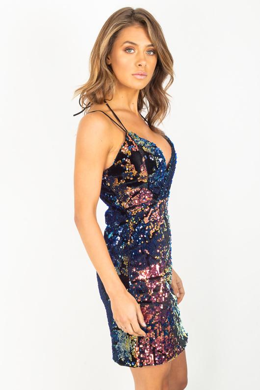 Multi Coloured Sequin Party Slip Dress