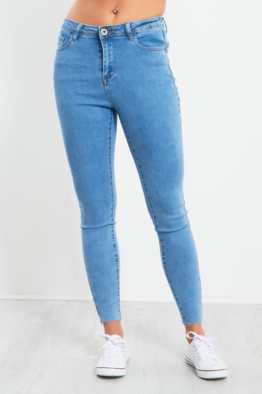 Blue Cut Hem Skinny Jeans