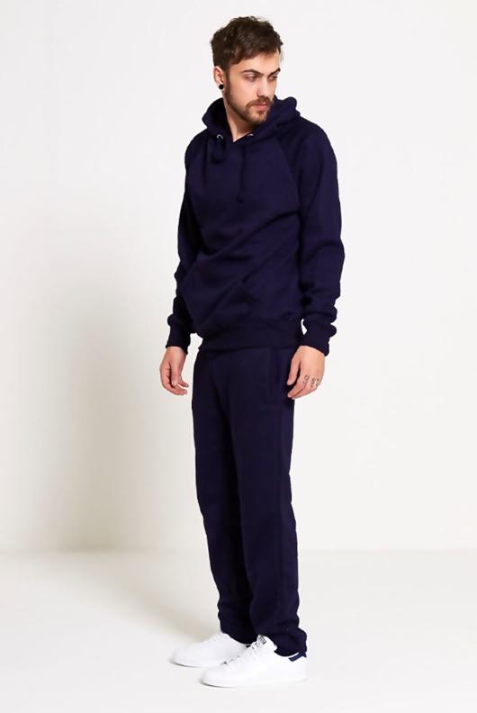Mens Navy Basic Pullover Hood Tracksuit