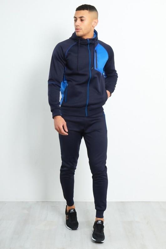 Mens Navy Contrast Zip Side Panel Skinny Fit Tracksuit Preorder
