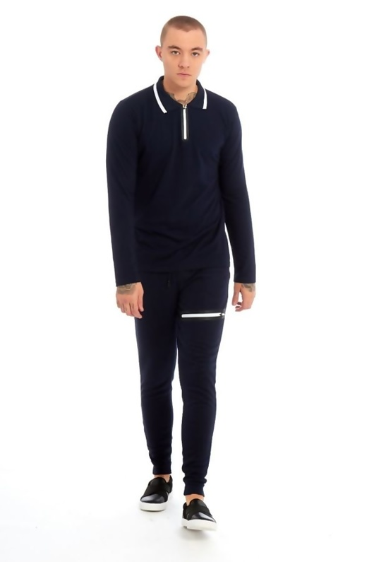 Mens Navy Zip Detailed Skinny Fit Polo Tracksuit