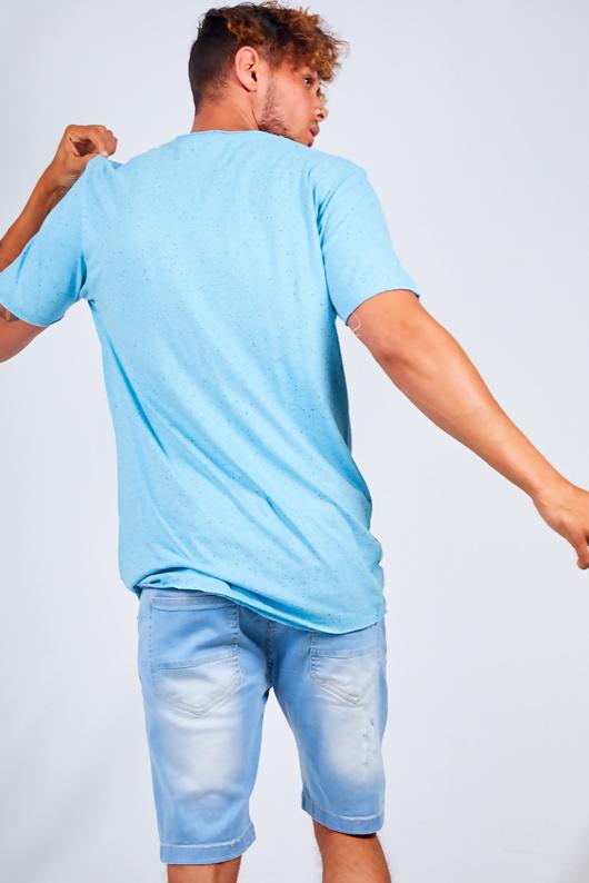 Mens Blue Speckled Nep Crew Neck T-Shirt