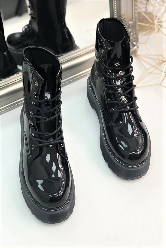 Black Patent Chunky Lace Up Biker Boots