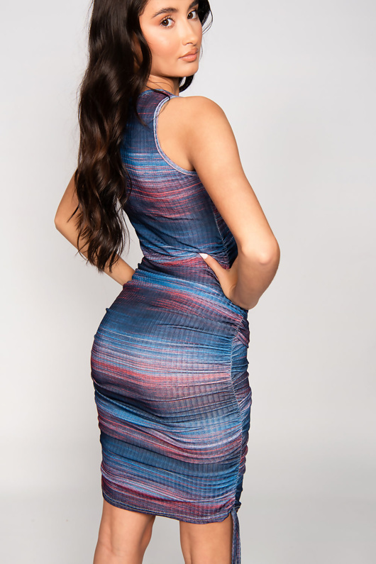 Navy Multi Ribbed Ruched Bodycon Dress