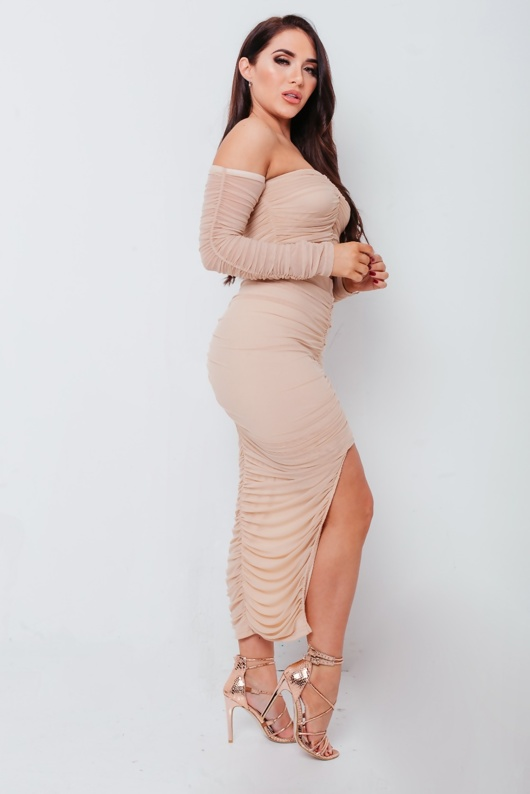 Nude Ruched Bardot Crop Top And Midi Skirt Co Ord Set
