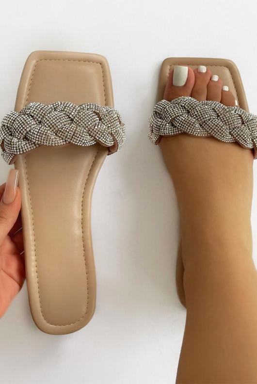 Nude Woven Diamante Strap Flat Sandals