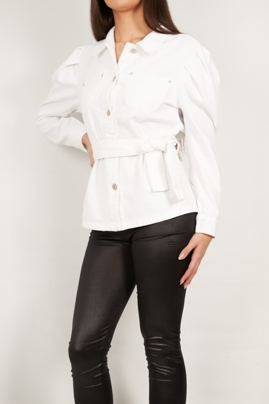 Off White Puff Sleeves Belted Jacket