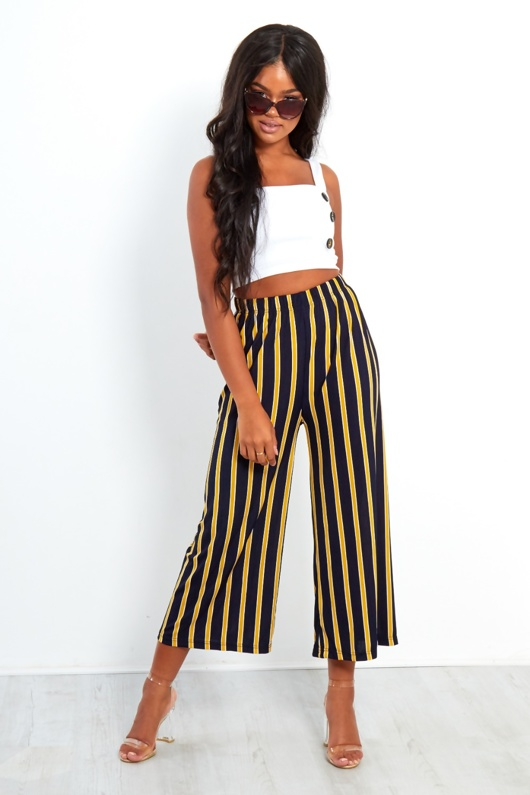 Navy And Mustard Wide Leg Cropped Trousers