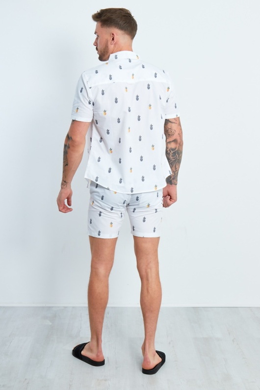White Pineapple Printed Shirt