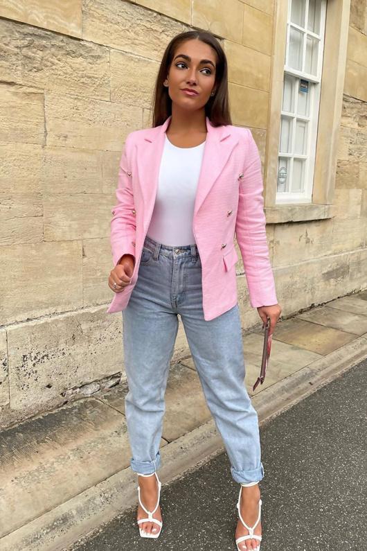 Pink Boucle Gold Button Blazer