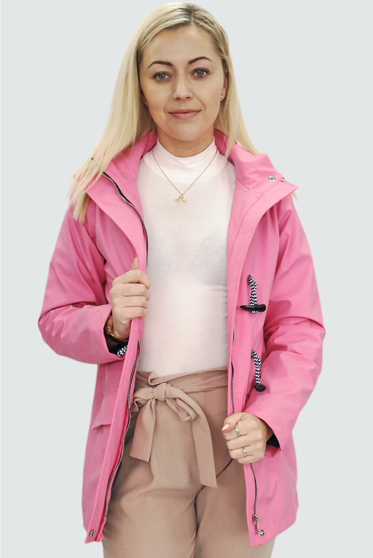 Pink Rubberised Rain Mac With Toggles