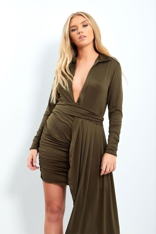 KHAKI PLUNGE NECK RUCHED SIDE MINI DRESS