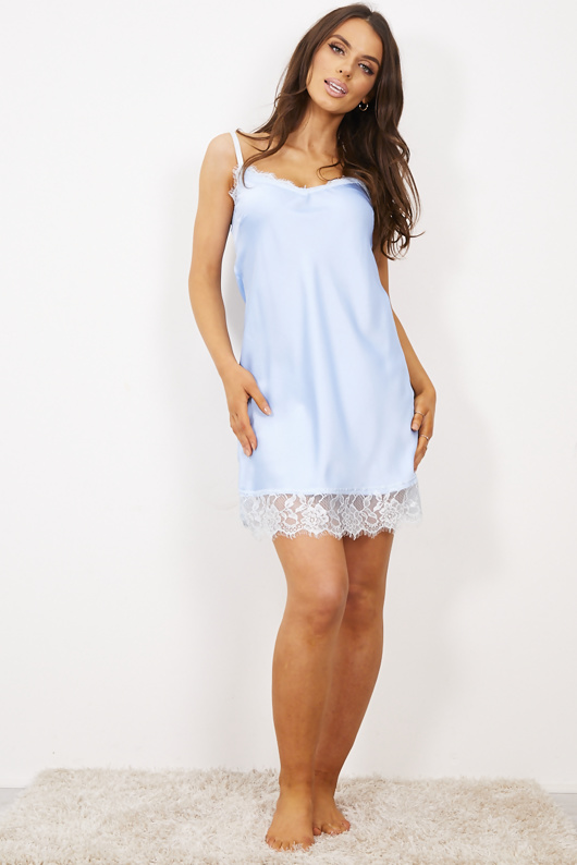 Pastle Blue Strappy Lace Trim Cami Dress