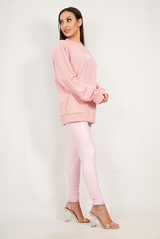 Pink Be Kind Slogan Oversized Jumper