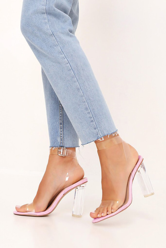 Pink Clear Strappy Heels