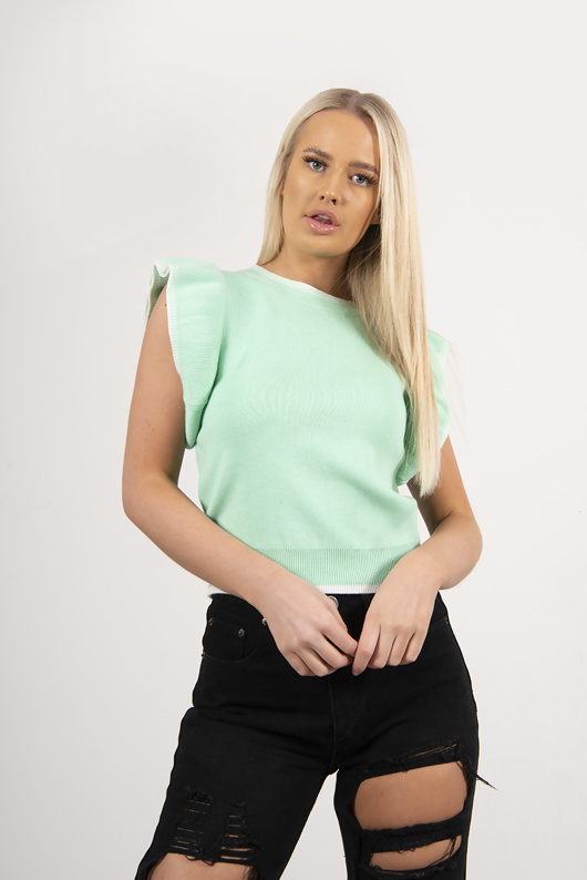 Green Ruffle Sleeve Knitted Top