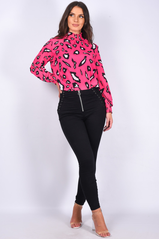 Hot Pink Leopard Print Long Sleeve Shirred Neck Blouse
