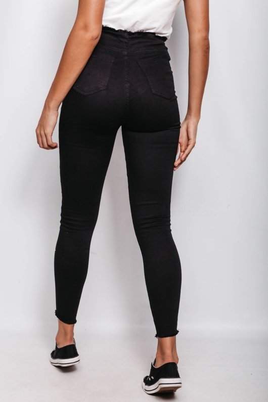 Black Lace Up Zip Detail Fray Skinny Jeans