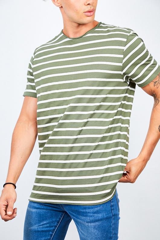 Khaki Rolled Detail Striped Crew Neck T-Shirt