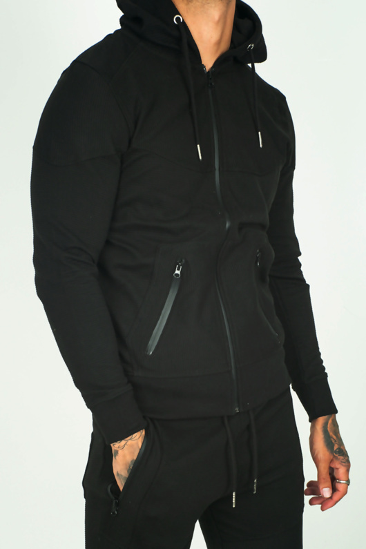 Black Contrast Zip Detail Ribbed Tracksuit