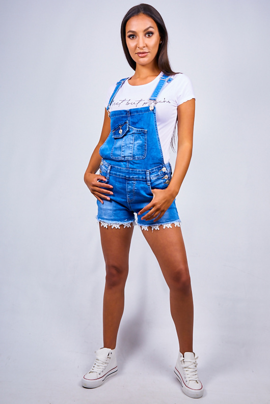 Blue Crochet Trim Denim Dungaree Shorts