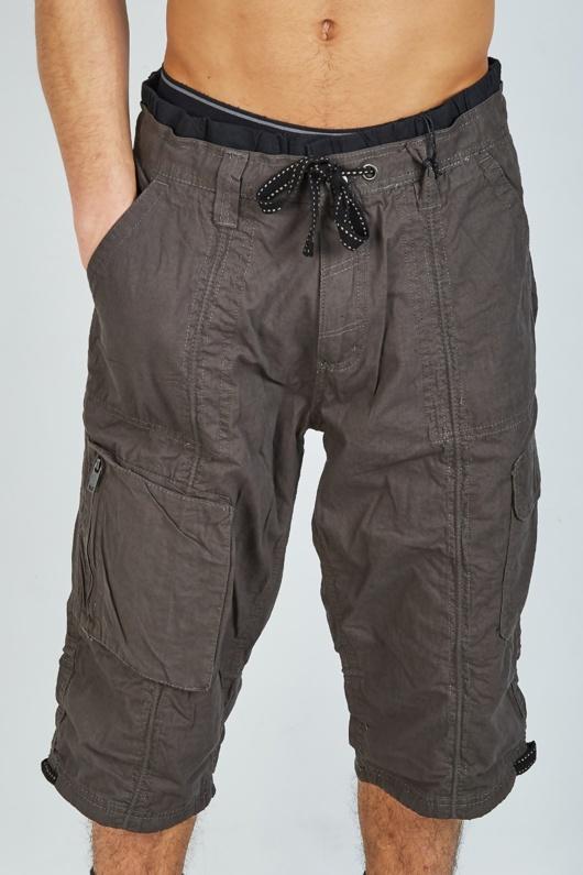 Mens Charcoal Long Cargo Shorts