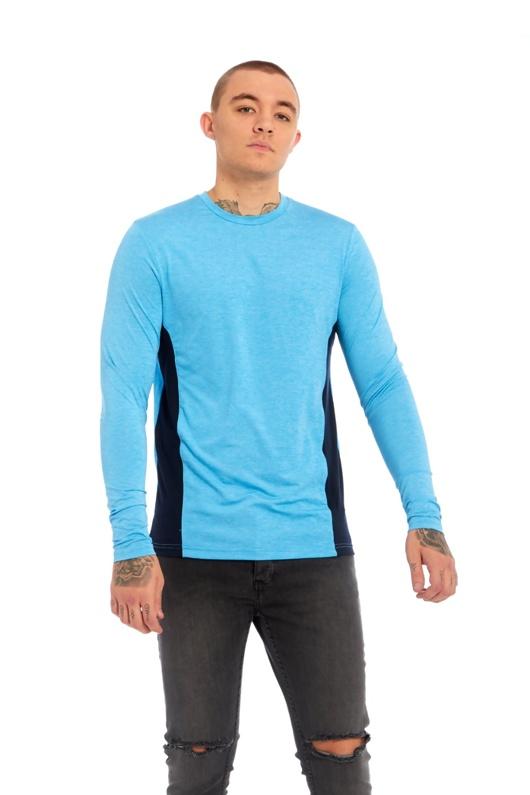 Mens Pale Blue Brave Soul Contrast Side Panel Long Sleeve T-Shirt