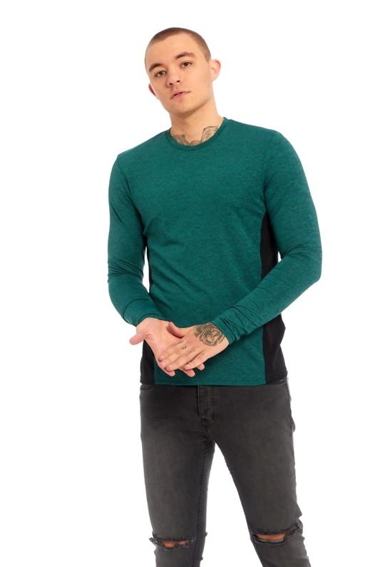 Mens Green Brave Soul Contrast Side Panel Long Sleeve T-Shirt