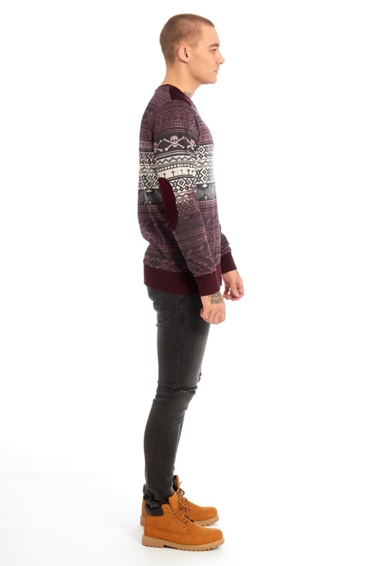 Mens Burgundy Skull Pattern Sweatshirt