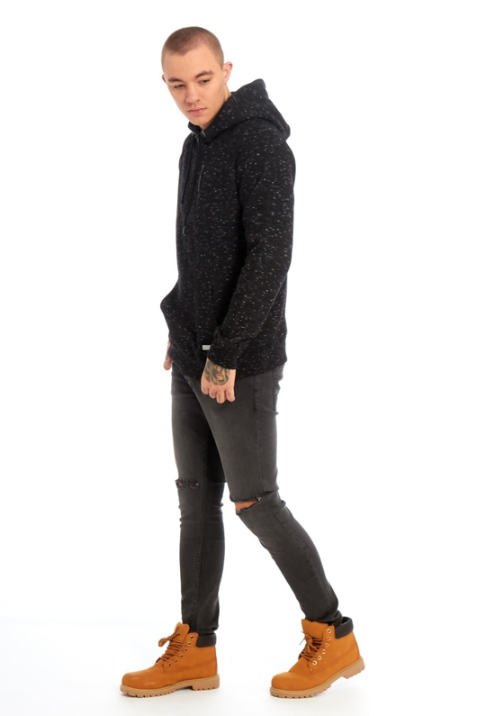 Mens Black/Ecru Space Dye Hooded Top