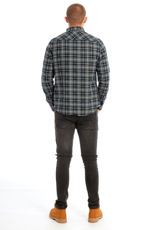 Mens Grey Long Sleeved Checked Shirt