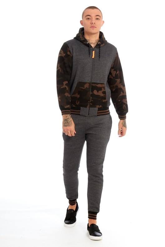 Mens Charcoal Camo Contrast Hood Skinny Tracksuit