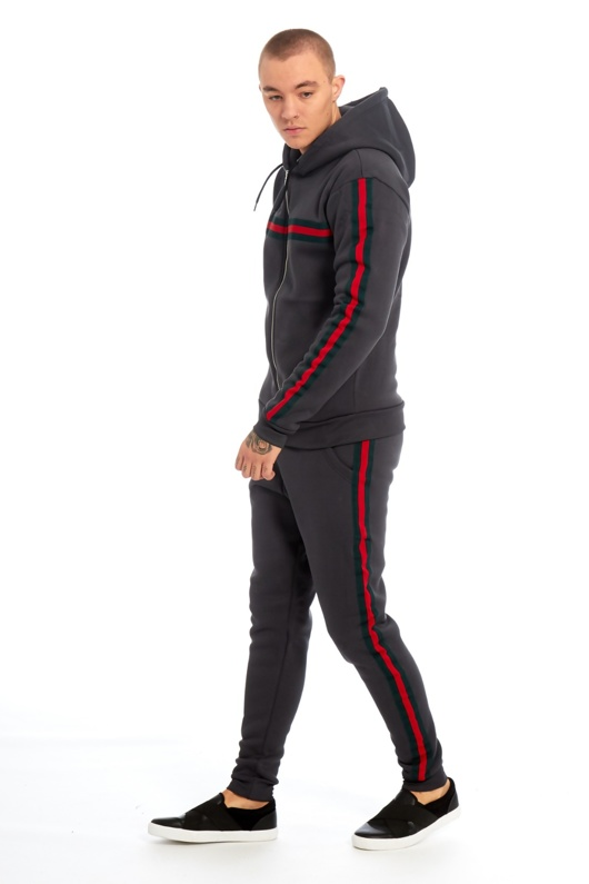 Mens Charcoal Hooded tracksuit with Stripe Detail