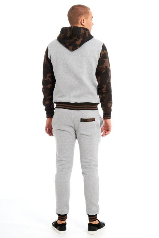 Mens Grey Camo Contrast Hood Skinny Tracksuit