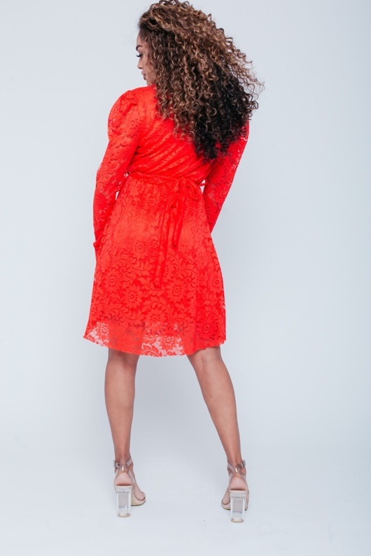 Red Lace Back-Tie Skater Dress