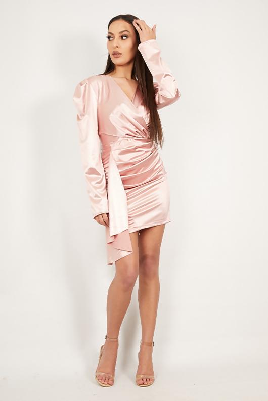 Rose Satin Drape Detail Ruched Mini Dress