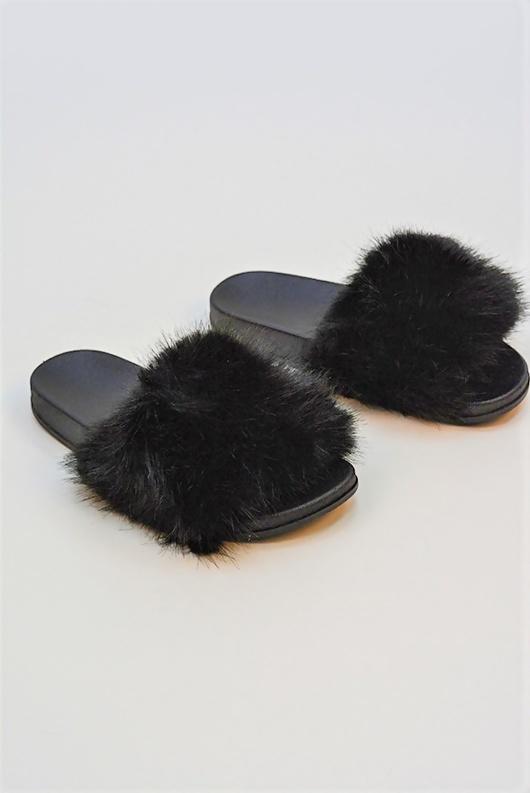 Black Faux Fur Sliders