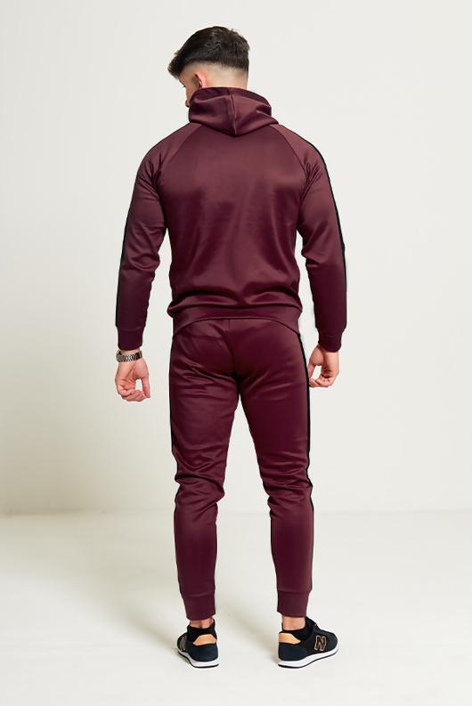 Mens Burgundy Hooded Tracksuit With Black Panel Detailing