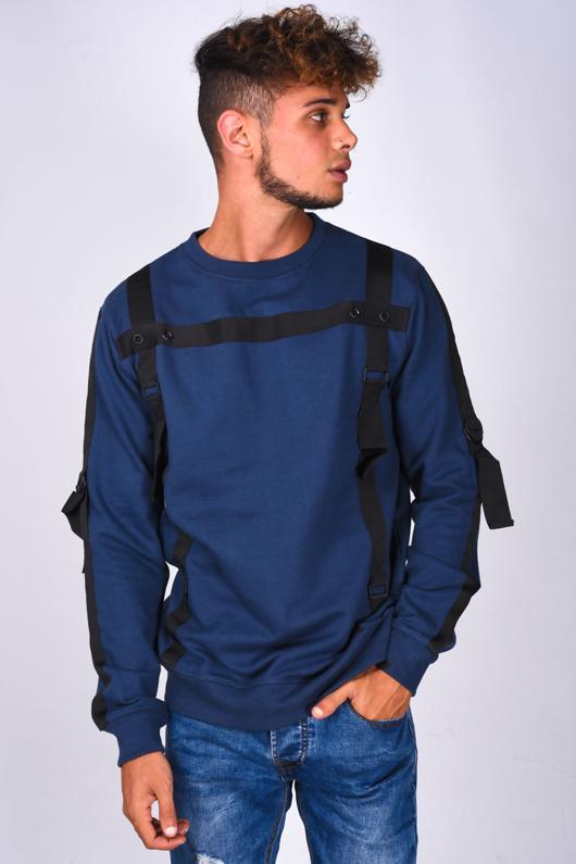 Mens Navy Strap Taped Long Sleeve Sweatshirt