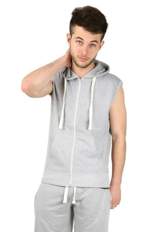 Grey Sleeveless Hooded Short Set