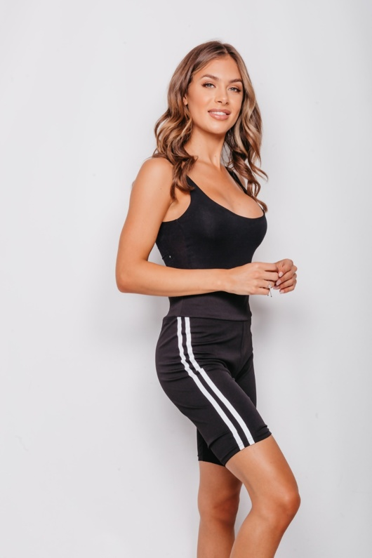 Black Double Side Stripe Cycle Shorts