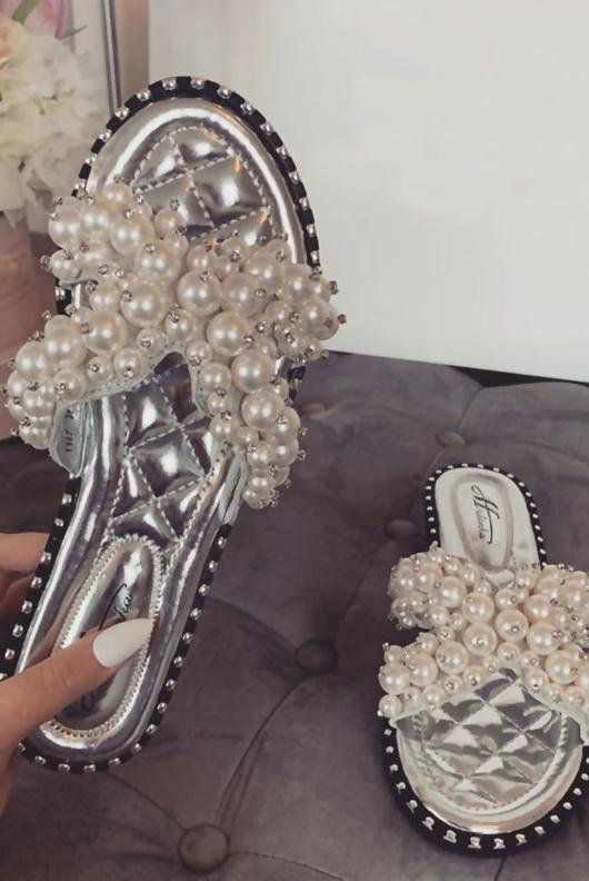 Silver Pearl Embellished Slip On Sandals