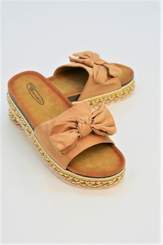 Beige Bow Woven Flatform Sandals